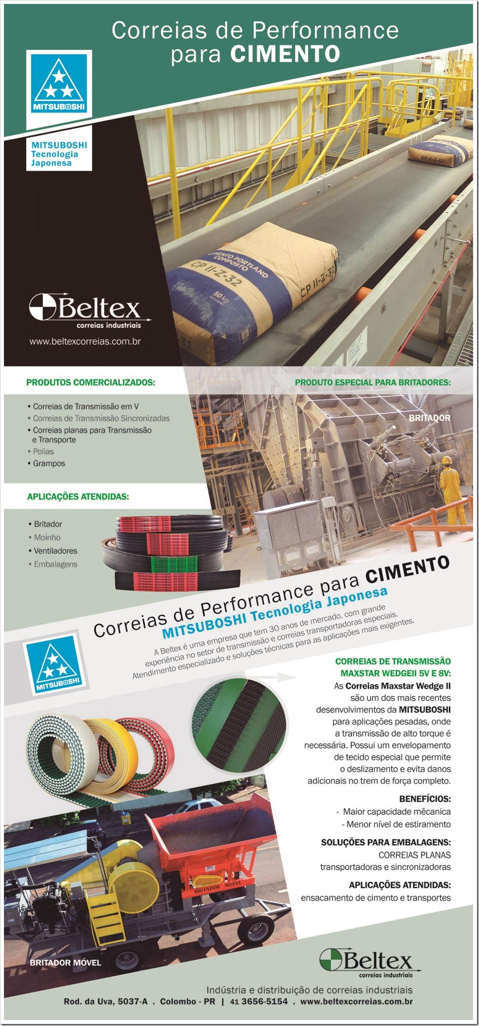 Correias de Performance para Cimento Beltex Correias